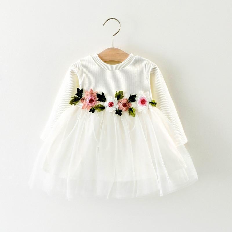 Robe princesse pour nouveau-né et filles 3-24M   Tenue Tutu de fête en Tulle, motif floral, pour anniversaires et bébés filles, automne