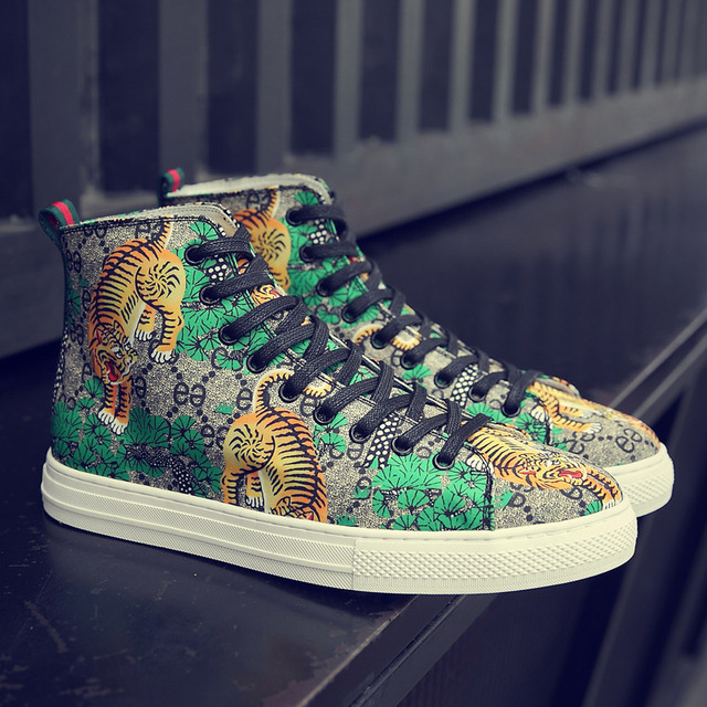 Tiger Print High Top Sneakers