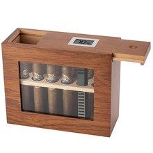 Novo charuto caixa de madeira com higrômetro umidificador portátil janela de vidro humidor cedro caixa de madeira caber 12-25 charutos armário de armazenamento