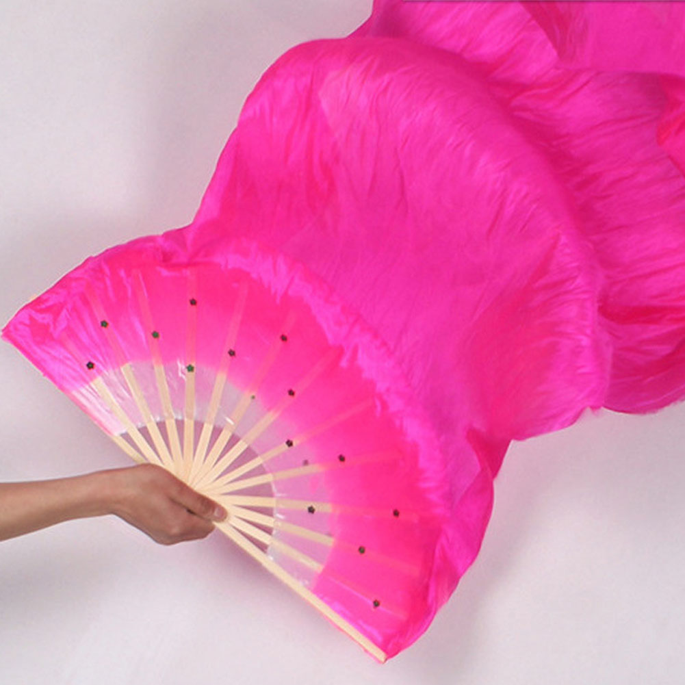 Hot Selling 1.8m Hand Made Colorful Belly Dance Women Costume Bamboo Long Silk Fans Veil Silk Fan #5