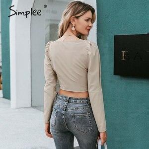 Image 4 - Simplee 빈티지 레이스 업 버튼 여성 블라우스 셔츠 패션 퍼프 슬리브 솔리드 섹시한 숙녀 블라우스 셔츠 캐주얼 파티 우아한 탑