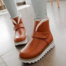 KARINLUNA الوافدين الجدد دروبشيب حجم كبير 44 الثلوج أحذية حريمي برقبة الترفيه الشتاء أفخم روسيا لطيف حذاء من الجلد حذاء امرأة