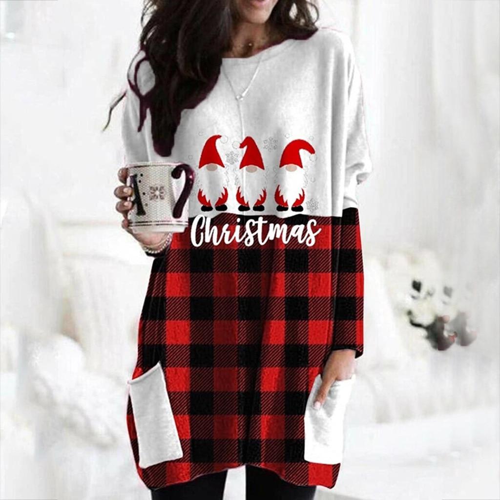 Hot Sale Women's Christmas Color Matching Print Long-sleeved Sweatshirt Casual Blouse Winter Korean Style Hoodies Women F 10
