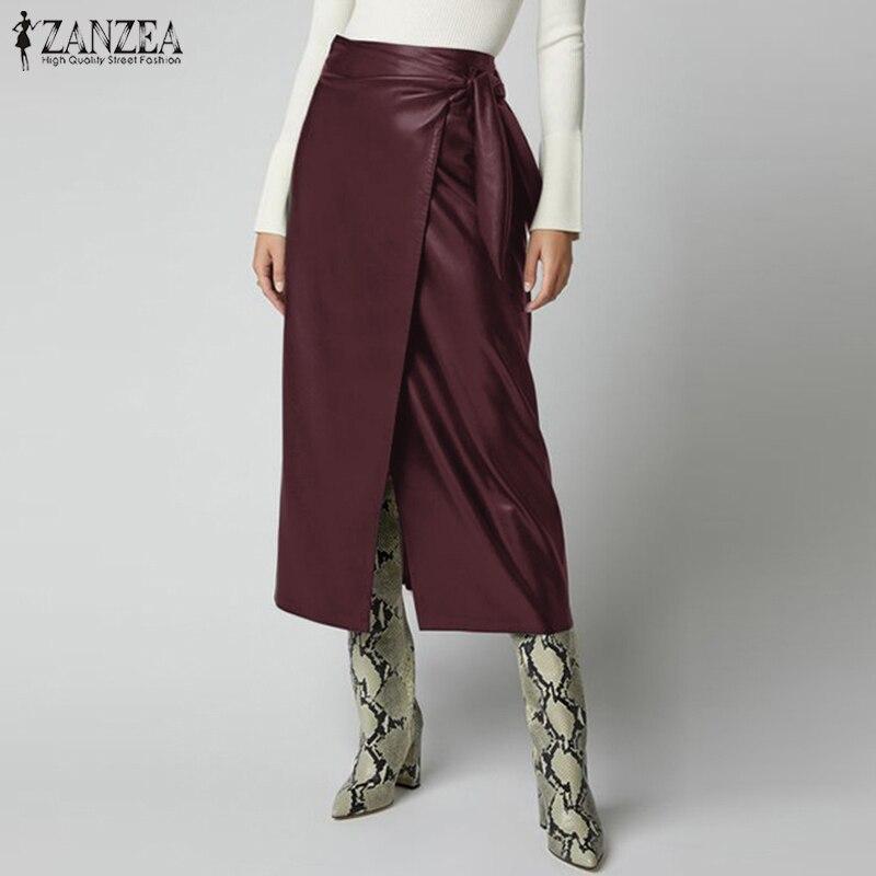 2020 ZANZEA Women's PU Leather Skirts Stylish Button High Waist Lace-Up Midi Skirts Female Solid Robe Oversized Split Vestidos