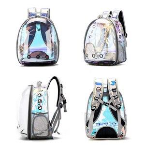 Image 2 - 送料無料猫バッグ通気性ポータブルペットキャリアバッグアウトドア旅行リュック猫と犬透明スペースペットのバックパック