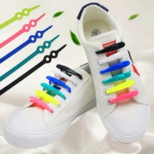 New Adjustable Silicone Lazy Elastic No Tie Shoelaces Colorful Silicone Shoelace Easy Shoe Laces for Adults Kids 12PCS /pack