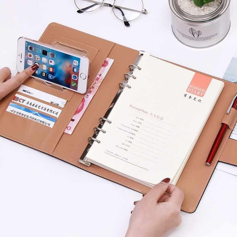 اجتماع عمل سجل فضفاضة ورقة مكتب دفتر دوامة الموثق ملزم مشبك تصميم بو خط سميكة المفكرة منظم A5 B5