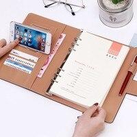 Business-Meeting Rekord Lose Blatt Büro Spirale Notebook Bindemittel bindung Schnalle design PU linie verdickt Notizblock Veranstalter A5 B5