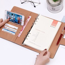 Cuaderno de negocios con hojas sueltas para reuniones Encuadernación con aglutinante, diseño de hebilla de PU, línea gruesa, organizador de libreta para notas A5 B5
