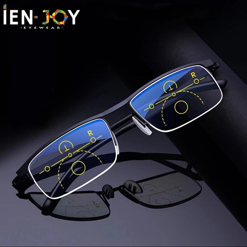 IENJOY Multifocal Progressive Reading Glasses Near and Dual-use Blue Light Blocking Eyeglasses Multifocus Readers Eyeglasses