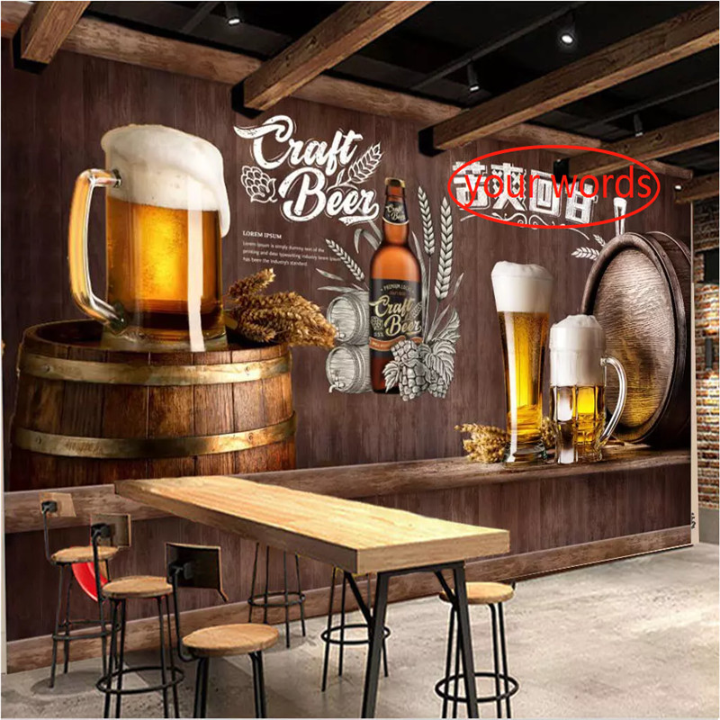 European And American Style Retro Wood Or Brick Wall Cowboy Beer Mural Wallpaper 3D Restaurant Bar KTV Winery Walls Decor Murals