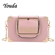 Youda Female 2019 New Summer Simple Original Fashion Shoulder Bag Chain Strap Rivet Sweet Crossbody Tote Retro Classic Packet