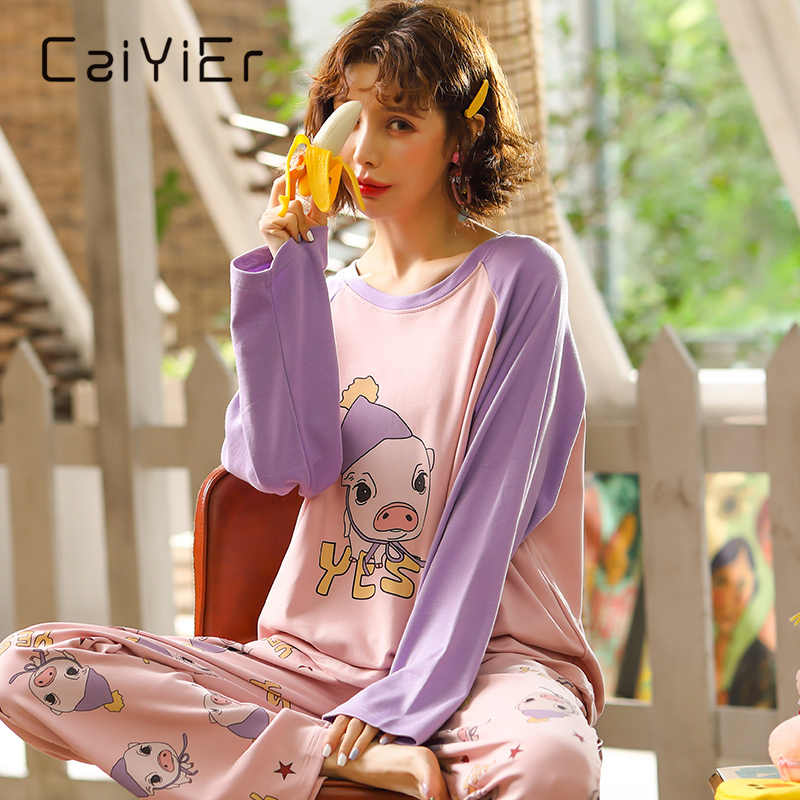Пижама женская осенняя х/б с длинным рукавом и мультяшным принтом