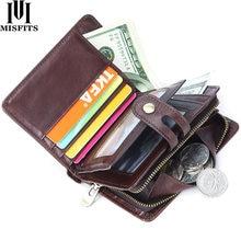 MISFITS брендовый деловой мужской длинный кошелек-клатч из натуральной кожи мужской Hasp Винтаж двойные сумка высокого качества; Бесплатная дос...