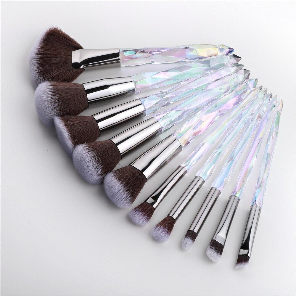 FLD Diamond Fan Makeup Brushes Powder Foundation Eyeshadow Eyebrow for Face Cosmetics Make Up Brush Set Brochas Maquillajes