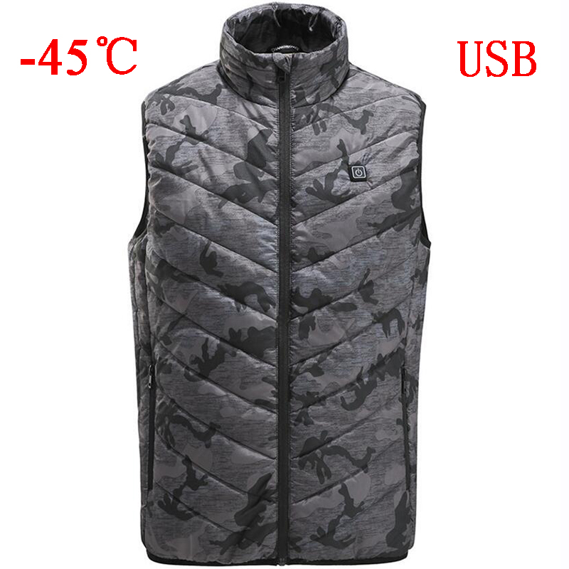 -60 Degree Electric Heated Vest Men Women Heating Waistcoat Thermal Warm Clothing Usb Heated Outdoor Vest Winter Heated Jacket