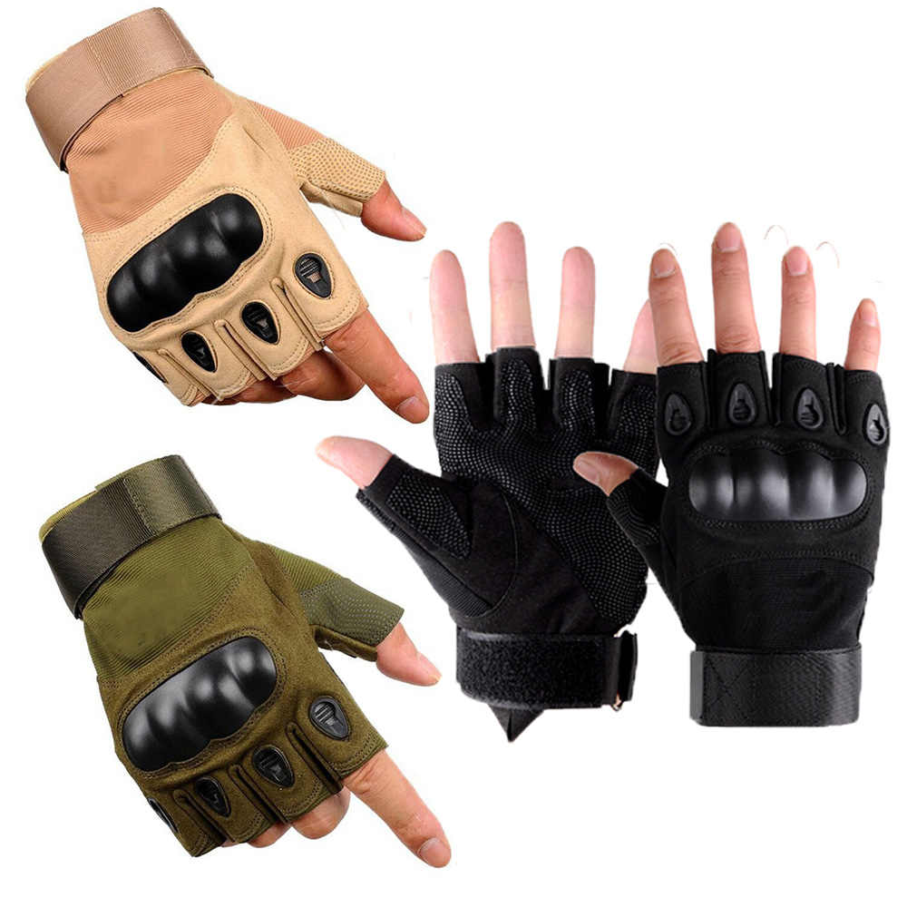 1pair Tactical Gloves Men Military Half Finger Hard Knuckle Gloves for Shooting Fighting Airsoft Motorcycle Outdoor Protection