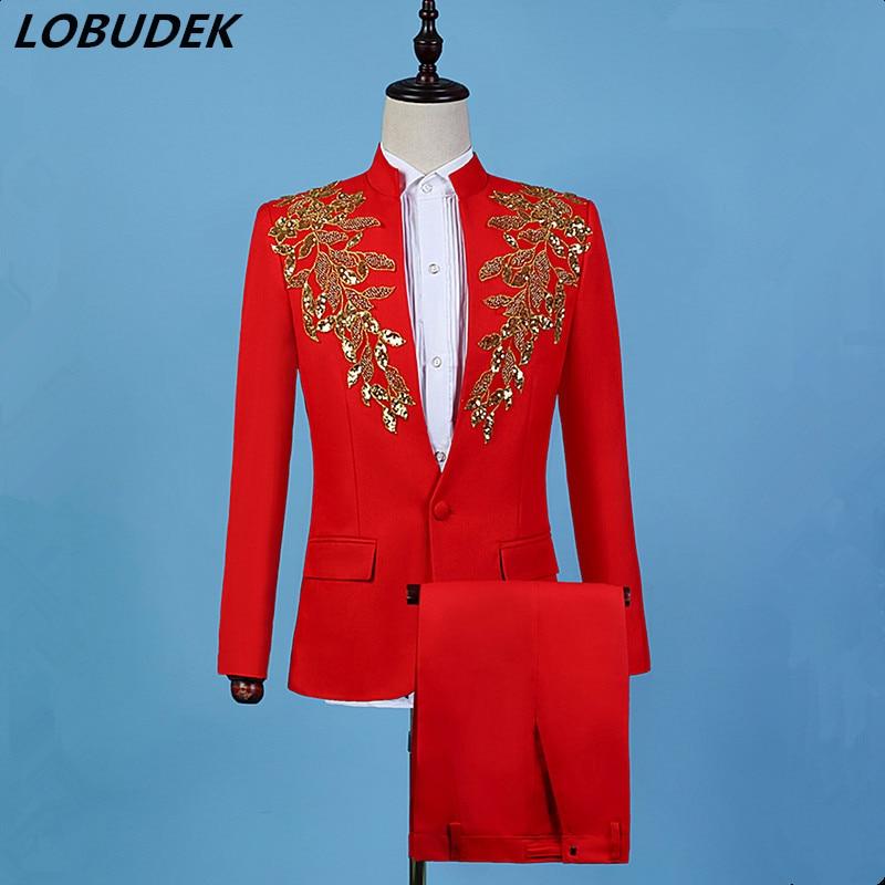 Men's Suits Costume Blazers Groom Sequins Stage Wedding Golden-Red Fashion Singer Chorus