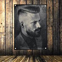 Retro tattoo haircut poster Banner Flag Music Poster Wall Hanging Tapestry Stickers HD Canvas Print Art Barber Shop Home Decor(China)