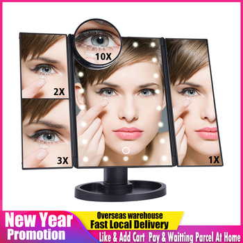LED Touch Screen 22 Light Makeup Mirror Table Desktop 1X/2X/3X/10X Magnifying Vanity 3 Folding Adjustable 1
