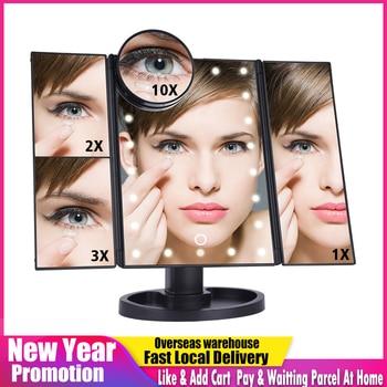 LED Touch Screen 22 Light Makeup Mirror Table Desktop 1X/2X/3X/10X Magnifying Vanity 3 Folding Adjustable 1