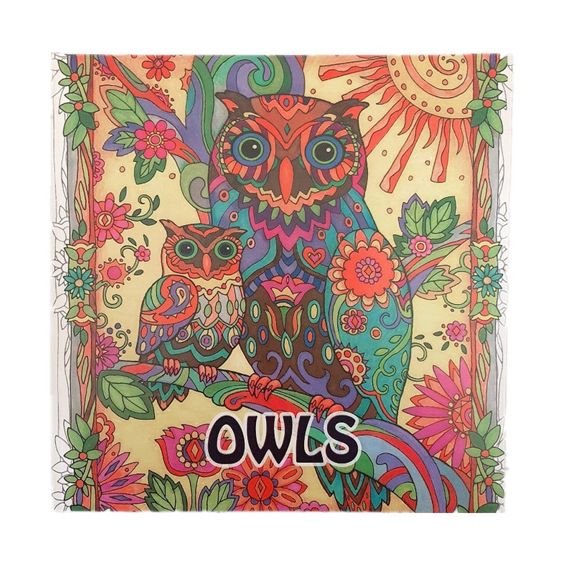 Owls Coloring Book ; Books For Children Adult Secret Garden Series Kill Time Painting Drawing Books  96Pages