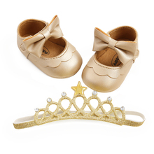 Shoes Baby And Toddler for Infant Girls 2pcs-Set Hairband Flats Crown Bowknot Soft-Sole