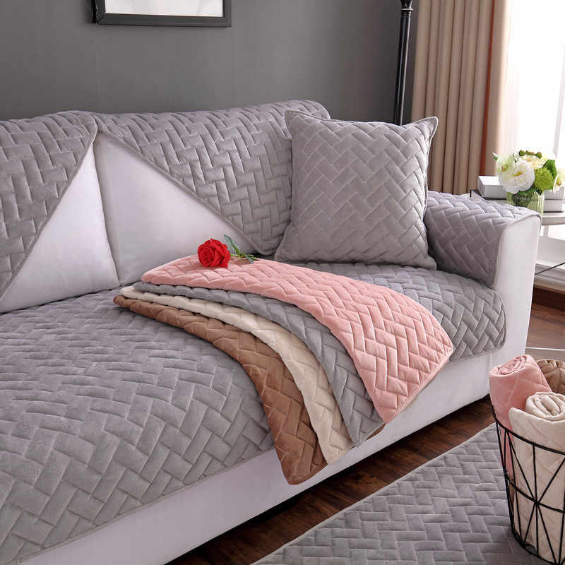 3 Seater Sofa Covers Solid Short Plush