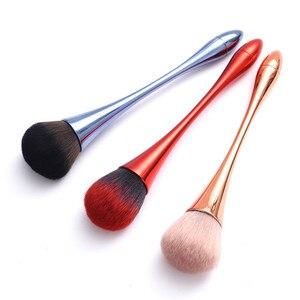 Image 5 - Pojedynczy puder fundacja Makeup muśnięcie różowe złoto miękki rumieniec pędzel mieszający twarz przybory kosmetyczne czara kształt czerwony niebieski pędzel kosmetyczny