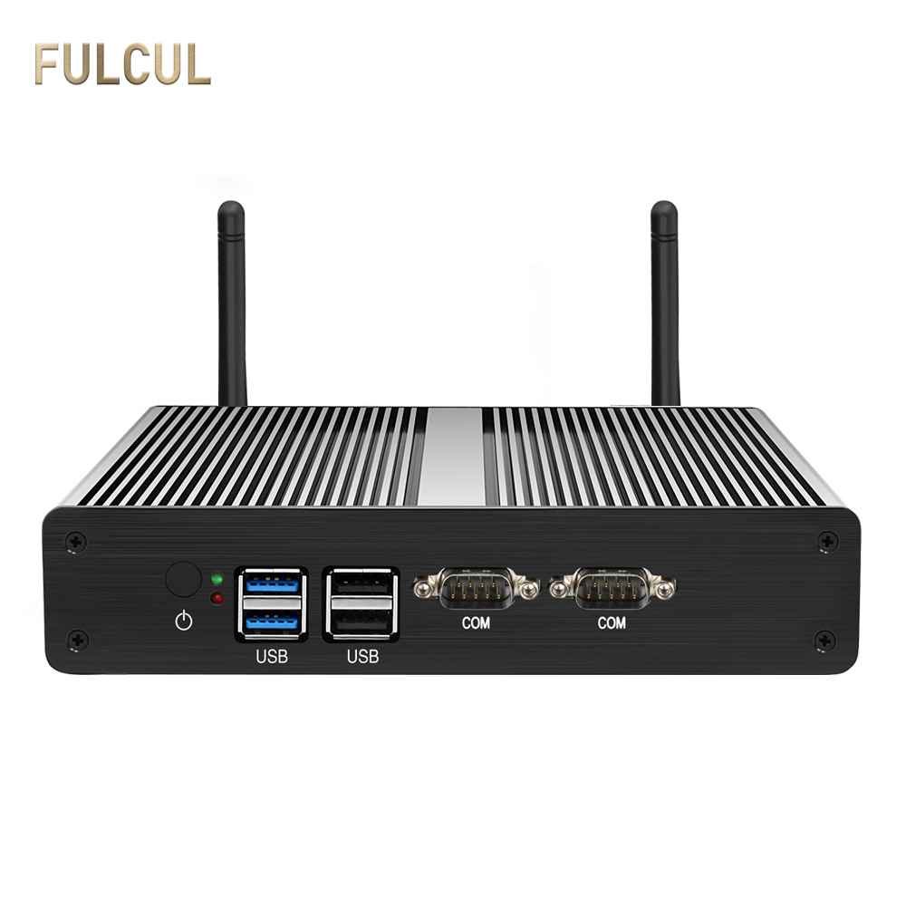 Fanless Mini PC Intel Celeron N2810 J1800 J1900 Desktop Mini SATA SSD Dual LAN DDR3L HDMI VGA 4*USB 2*COM 2*LAN Windows 10 WIFI