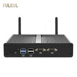 Sin ventilador Mini PC Intel Celeron N2810 J1800 J1900 de escritorio Mini SSD de SATA Dual LAN DDR3L HDMI VGA 4 * USB 2 * COM 2 * LAN Windows 10 WIFI