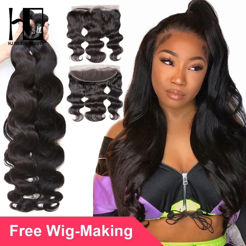 28 30 40 inches Human Hair Bundles With Frontal Body Wave 7A Virgin Hair Brazilian Hair Weave Bundles 13x4 Lace Frontal