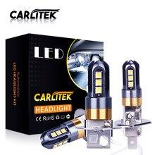 Carlitek h1 carro frente nevoeiro lâmpadas h3 led 360 graus 6000k luzes brancas 3030 chip 12smd luzes de alta potência 3d lâmpada do farol 12v sa