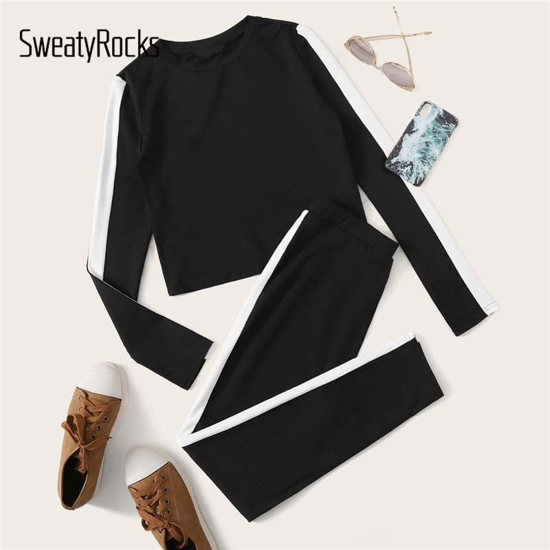 SweatyRocks Black Contrast Side Seam Tee And Legging Set Women Active Wear Skinny Outfits 2019 Autumn Casual Two Piece Set