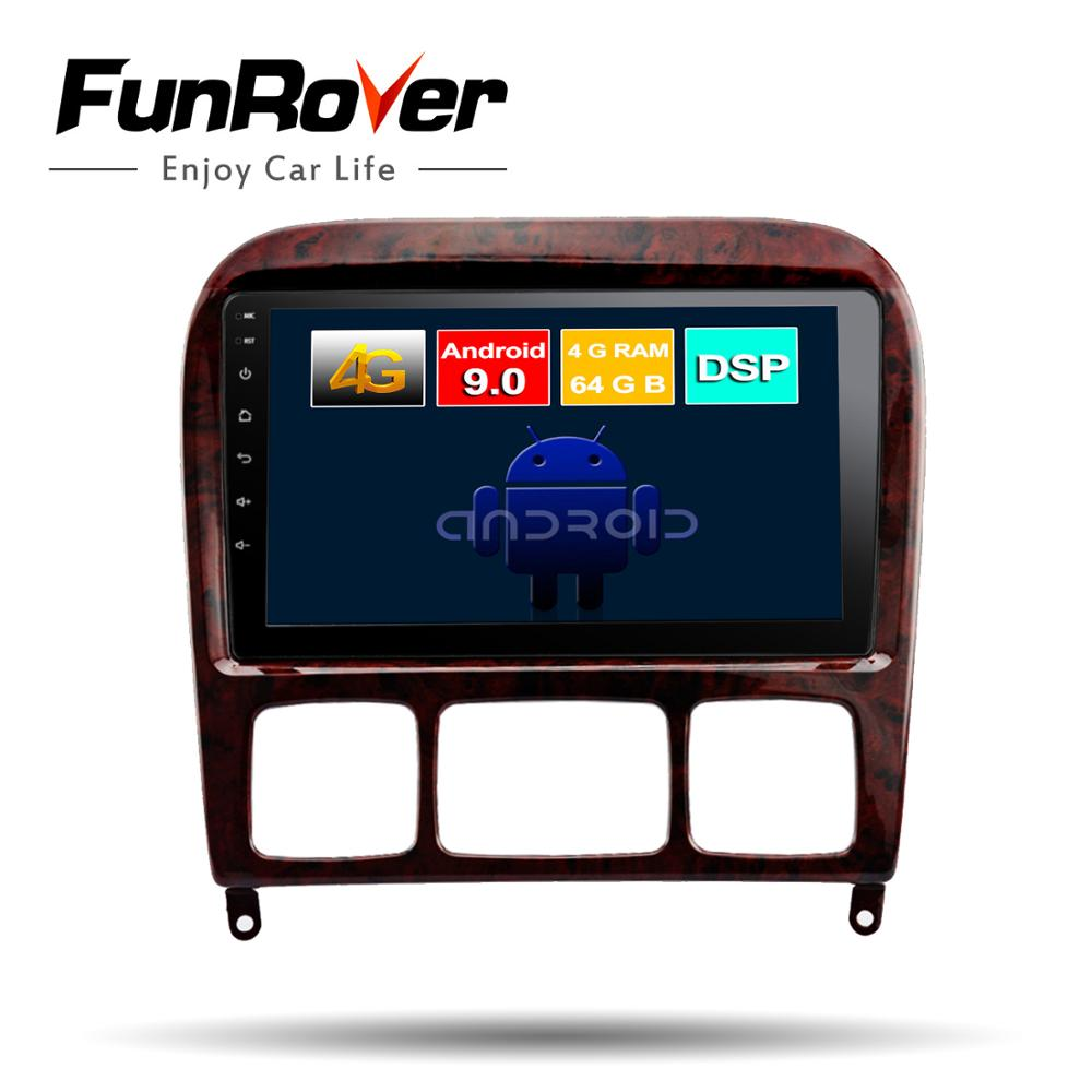 Funrover 2 din Android 9.0 car dvd multimedia player <font><b>gps</b></font> <font><b>For</b></font> <font><b>Mercedes</b></font> Benz S Class S280 S320 S350 S400 <font><b>S500</b></font> W220 W215 DSP 4G RAM image