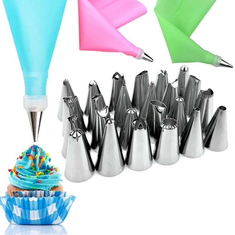 Stainless Steel Pastry Nozzles For Cream With Pastry Bag Decorating Cake Icing Piping Confectionery Baking Tools