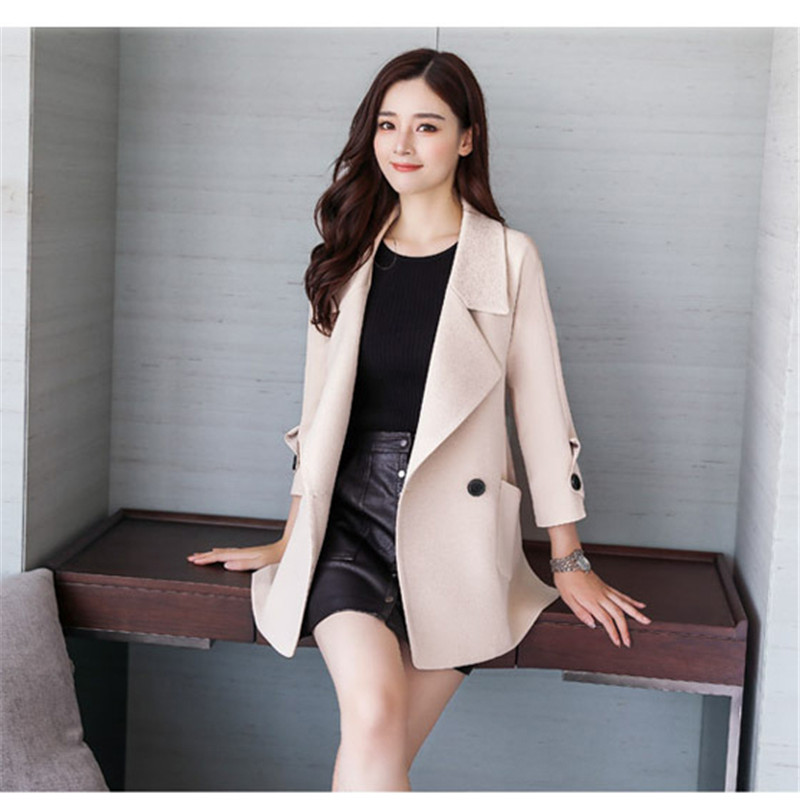 Autumn jacket women M-2XL plus size pink green beige coat 19 new long sleeve lapel fashion short paragraph jacket feminina LR484 27