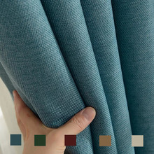 300cm Height Pure color window blackout curtain thickened cotton linen shading cutains for living room bedroom luxury curtains