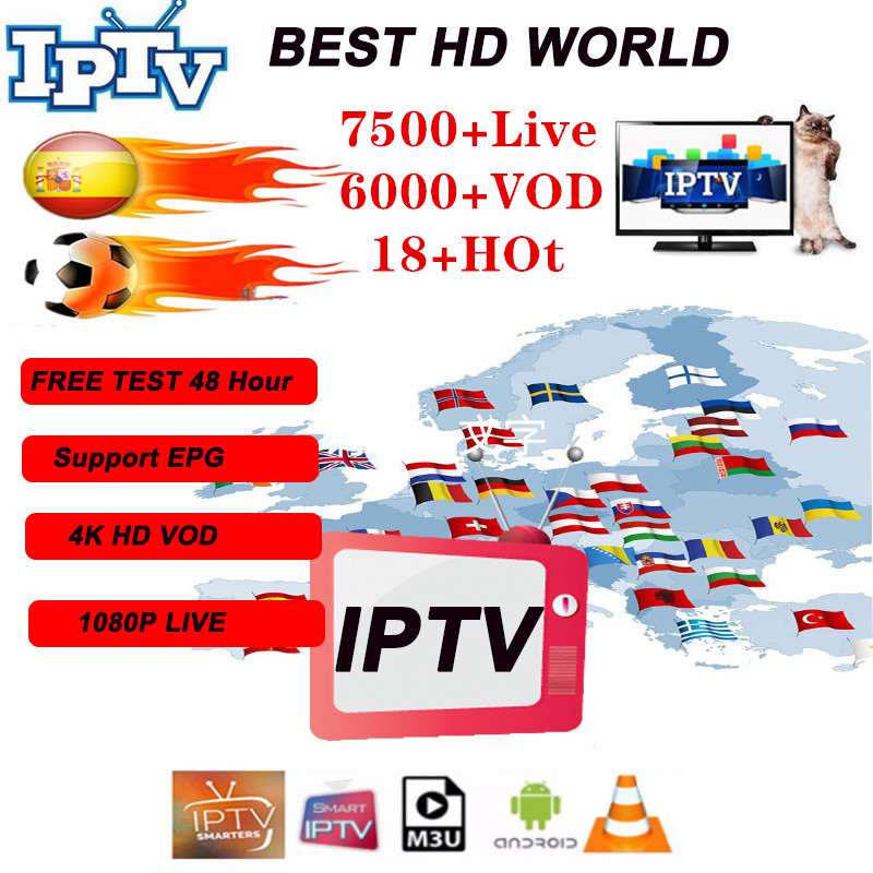 Premium IP TV Subscription IPTV Spain M3u 1 Year With 7500+ Live TV & 6000+ Spanish VOD Movies HD World Europe List IPTV Server6