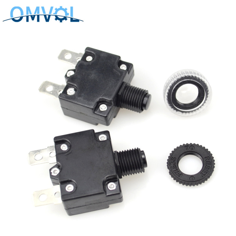 2PCS Thermal Circuit Breakers 3A 4A 5A 6A7A 8A 10A 15A 20A 25A 30A Mini Size Thermal Overload Protector Push Button Switch