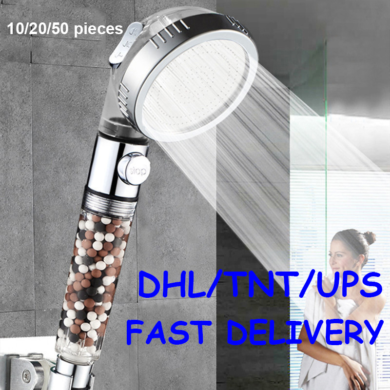 Wholesale 3 Function SPA Shower Head Stop Switch Bathroom Adjustable Water Saving Spray ABS Anion Filter Showerheads