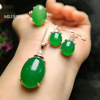 Natural green jade pendant handmade ring earring with 925 sterling silver sets jade pendants jade ring jade set 925 set