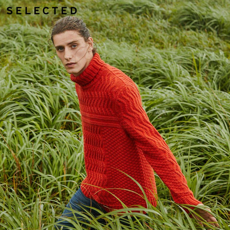 SELECTED Men's Autumn & Winter High necked Woolen Knitted Sweater L419424551-in Pullovers from Men's Clothing