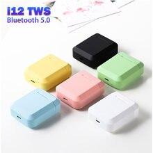 Original i12 tws bluetooth 5.0 fones de ouvido à prova dwaterproof água com caixa carregamento sem fio para iphone xiaomi huawei i9s i2