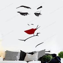 Women Face Wall Decal Beauty Salon wall sticker vinyl girls Silhouette Lips Hand Cosmetics Shop Decor JH48 cosmetics shop ru