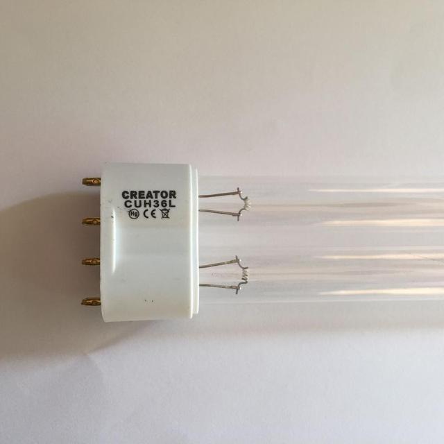 GUH60L 2G11 13000H , UVC 18W 24W 36W 60W 4 פינים UV צינורות מנורת Bactericidal, 2G11 36W UV,24W UV