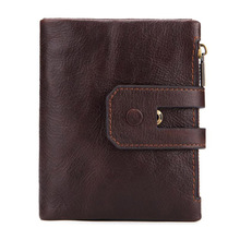 Western Rfid Double Zipper Three Folded Genuine Leather Men Wallet Fashion Cow Leather Short Men Purse недорого