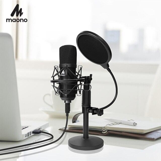 MAONO Kit de micrófono USB de 192KHZ/24 bits para ordenador, condensador de AU A04T, Podcast, Streaming, Plug & Play, micrófono para YouTube y juegos