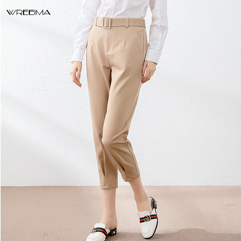 Wreeima Mujer Pantalones Caqui Bolsillos Cintura Midi Con Cinturon Harem Mujer Pantalones Casual Tobillo Longitud Chic Pantalones Pantalones Y Pantalones Capri Aliexpress