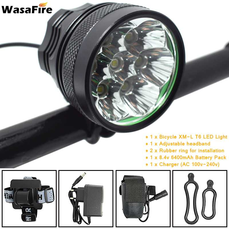 WasaFire 10000lm 7* XML T6 LED Bicycle Bike Front Light Flashlight 9600mAh Rechargeable Battery Pack Cycling Headlamp Headlight
